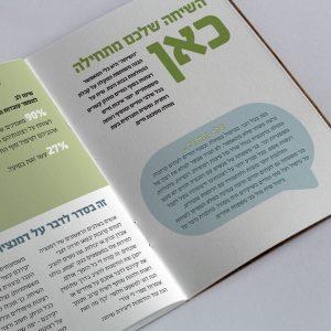 חוברת בצבעי תכלת, ירוק ולבן עם ציטוט גדול